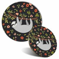 Mouse Mat & Coaster Set - Cute Lazy Sloth Flowers Floral Girls  #8411