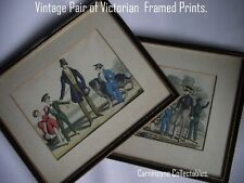 Vintage Pair of  Victorian Framed Character-Fashion Prints. AH8766.