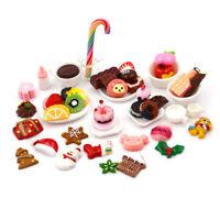 10X/Set flat back resin cabochons kawaii cake Christmas mobile decoration KI