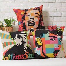 Pop Art Marilyn Monroe Audrey Hepburn Charlie Chaplin Cushion Cover Pillow Case