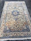 Antique 6'x9' WOOL/SILK Nain Naeen Oriental Area Rug Hand-Knotted Beige