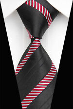 Black Designer Hand Woven 100% Pure Silk Tie with Red & White  Stripes Pattern