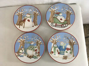 "Debbie Mum ZAK Design Winter Wonders Christmas Snowman 8 1/4"" Salad Plates (4)"