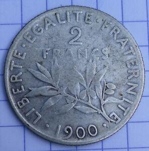 FRANCE PIECE Monnaie 2 francs semeuse O. Roty argent 1900 2F AG e