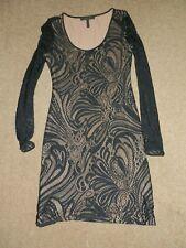BCBGMAXAZRIA Long Sleeve Dark Navy Blue Lace Polyester Blend Dress   Size M