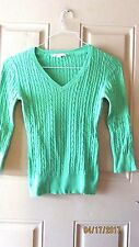 Merona Vintage Green V Neck Pull Over Sweater Juniors XS