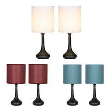 2 Sets Bedside Lamp Table Light 3 Colors Lampshade Black Base Modern Home Decor.