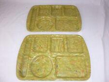 Pr Vtg Prolon Ware Cafeteria Style Lunch Trays Confetti Melamine Melmac Olive Gr
