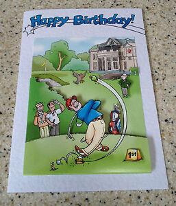 "Handmade Birthday card 3D decoupage humorous male golfer golf  7"" x 5"" golfing"