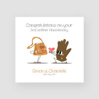 Personalised Handmade 3rd Leather Wedding Anniversary Card - Third, Funny