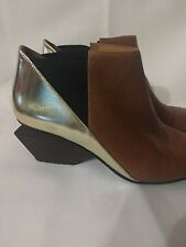 United Nude 1874 Womens Brown/ Gold Leathe Pointed Toe Ankle Boots Shoes 37