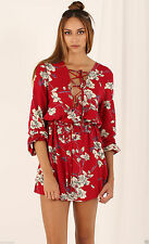 Short Sleeve Casual Floral Shirt Dresses