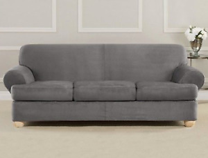 NEW Stretch Piqué Four Piece T-Sofa Slipcover Form Fit sure fit slate gray