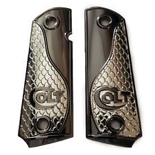 Custom Colt 1911 Grips Full Size Black Nickel Plated Grips 45/38 super Commander