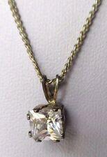 pendentif collier bijoux année 90 solitaire cristal diamant couleur or 368