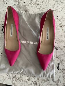 Manolo Blahnik Suede Hot Pink Fuschia Low Heel 38