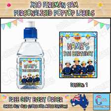Personalised FIREMAN SAM Pop Top Sticker Labels - x 20 - Just Peel & Stick
