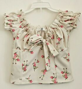 Missguided Frill Floral White Crop Top Short Size 4 Bow Tie Sweetheart Bardot