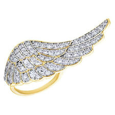 Round Cubic Zirconia Angel Wing Ring in 14K Yellow Gold Over Sterling Silver