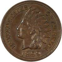 1899 1c Indian Head Cent Penny US Coin AU About Uncirculated