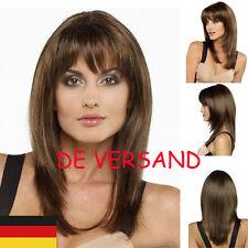 DE Damen Schwarz Braun Glatt Mittel Voll Perücke Cosplay Party Haarersatz Harre