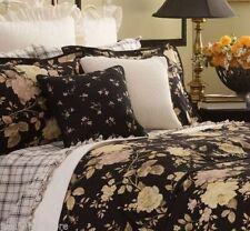 Ralph Lauren Winter Rose Floral QUEEN / FULL Duvet Cotton Comforter Cover Black