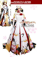 Fate Grand Order Saber Artoria Cosplay Costume Crane Kimono Wedding dress Custom