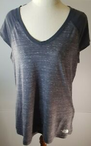 Womens THE NORTH FACE Grey with white flecks Short Sleeve TShirt Top Size L