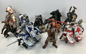 Papo Lot of 15 Knights and Horses Schleich Medieval Fantasy Tournament figures