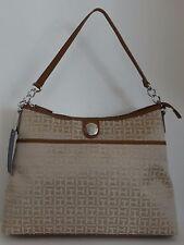 NWT Tommy Hilfiger Women's Beige Brown Jaquard Leather Medium Tote Hobo Handbag