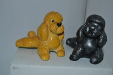 Vintage Chalk Chalkware Black Yellow Rhinestone Lot of 2 Poodle Dog Lot8
