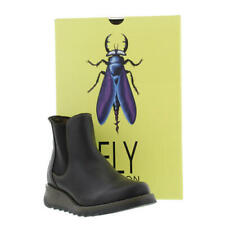 Fly London Salv Womens Ladies Black Leather Wedge Chelsea Ankle Boots Size 4-9