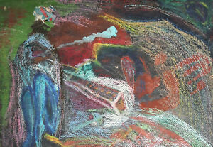 Vintage European abstract pastel painting collage