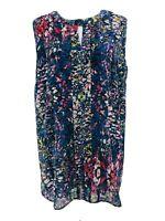 CAbi #3093 Women's Stained Glass Keyhole Sleeveless Blouse Size Medium