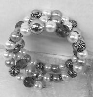 Brand New QVC Women shell pearl Bracelet Multi layered adjustable cuff bracelet