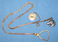 Antique Gold Plated Copper Watch Chain FOB Sterling Horse Head & Capitol DC