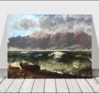 "GUSTAVE COURBET - Beach Boats & Waves - CANVAS ART PRINT POSTER - Ocean - 24x16"""