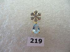 #219# .925 Sterling Silver / 18K Gold Snowflake Pendant Pear Aquamarine Gem