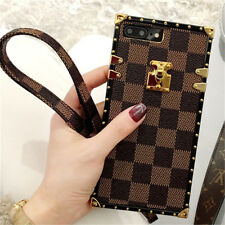 Luxury Metal Grid Plaid Leather Strap Soft Case Cover for iPhone X 8 7 6 6S Plus
