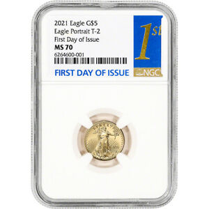 2021 American Gold Eagle Type 2 1/10 oz $5 - NGC MS70 First Day Issue 1st Label