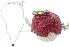 NEW DISNEY Princess Snow White & 7 Dwarfs Red Glitter Poison Apple Necklace NWT