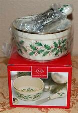 Classic Lenox HOLIDAY Holly Leaf Dip Bowl w/ Spreader Set - NIB
