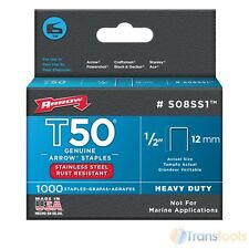 """Arrow T50 and T55 Stainless Steel Staples 12mm 1/2"""" - 1000 Pack"""