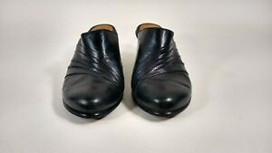 Womens Size 6M Black Sofft Leather Clogs Mules Slip On Shoes BEAUTIFUL
