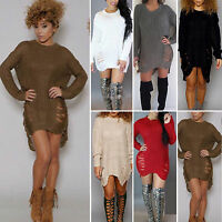 Womens Winter Long Sleeve Sweater Mini Jumper Dress Knitted Baggy Party Fit Tops
