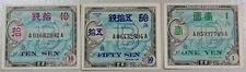 JAPAN JAPANESE MILITARY CURRENCY (3) 10 SEN, 50 SEN, 1 YEN CU UNC