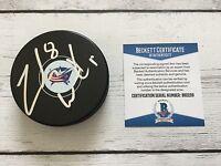 Zach Werenski Signed Columbus Blue Jackets Hockey Puck Beckett BAS COA a