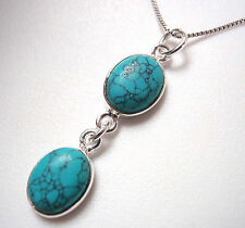 Blue Turquoise Double-Gem 925 Sterling Silver Necklace Corona Sun Jewelry