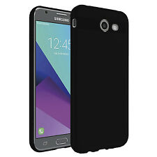 FOR SAMSUNG GALAXY J3 EMERGE 2017 BLACK TPU GEL CASE FLEXIBLE PROTECTIVE COVER