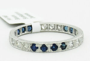 GENUINE BLUE SAPPHIRE & DIAMOND ETERNITY RING 14K WHITE GOLD * New With Tag *
